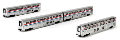 Kato N 1063517 Superliner 4-Car Set, Amtrak (Phase III) Set A