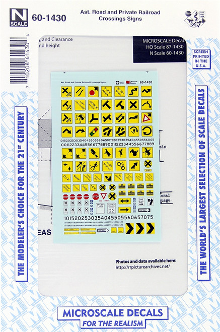 Microscale N 60-1430 Assorted Road and Private Railroad Crossings Signs