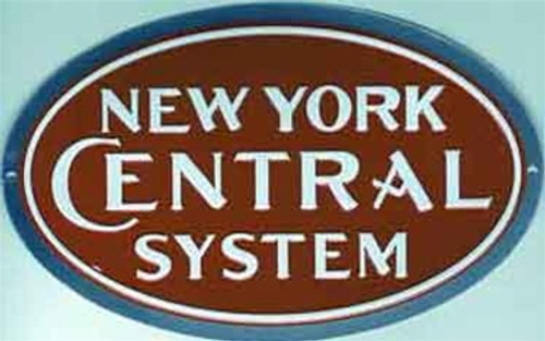 "Microscale 10006 New York Central 8"" x 5"" Oval Embossed Aluminum Sign"