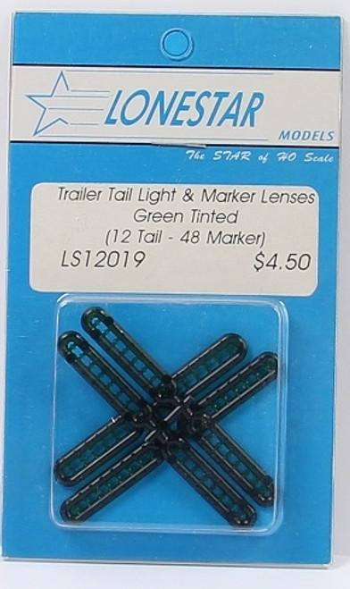 Lonestar Models HO 12019 Marker and Tail Light Lenses, Green (12 Tail Lights, 48 Marker Lights)