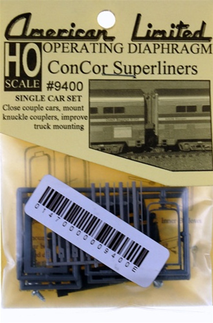 American Limited HO 9400 Operating Diaphragm for ConCor Superliners (1 Pair)