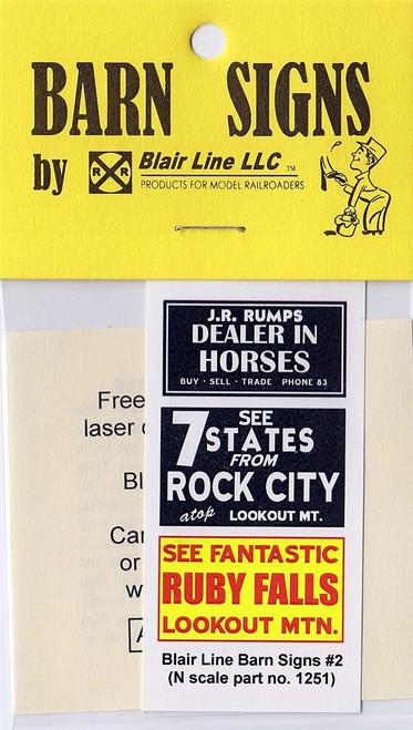 Blair Line N 1251 Barn Decals Set #2