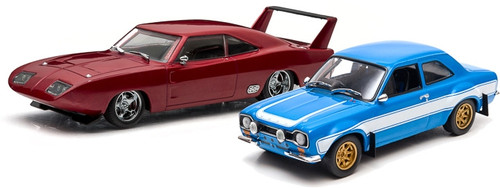 Greenlight Collectibles O 86251 1969 Dodge Charger Daytona, 1974 Ford Escort RS 2000 MKI Drag Racing Scene Set