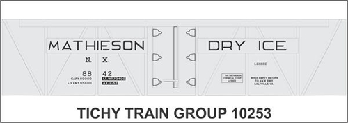 Tichy Train Group HO 10253 Mathieson Dry Ice 40' Insulated Wood Box Car Decal Set (d)