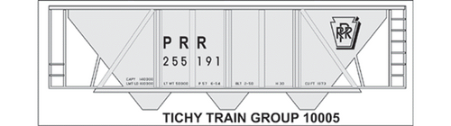 Tichy Train Group HO 10005 Pennsylvania Railroad H-30 Black Gothic Print Decal Set for Gray Hopper Cars (d)