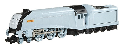 Spencer the Silver Engine with Moving Eyes from Bachmann Thomas and Friends collection. Shop Thomas the Train Sets.