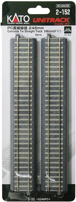 "Kato HO 2152 Unitrack 246mm 9-3/4"" Concrete Tie Straight Track (4)"