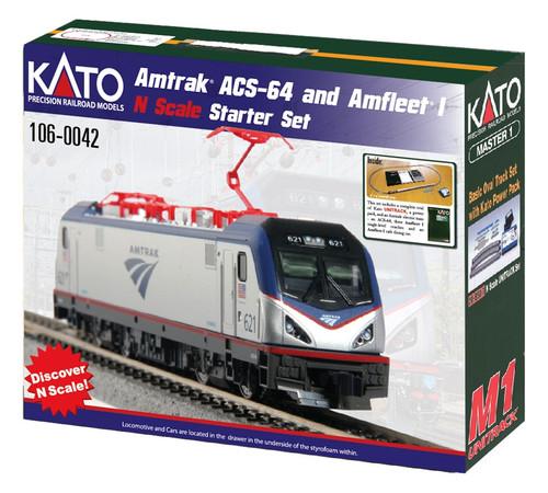Kato N 1060042 Amtrak ACS-64 and Amfleet I Starter Set