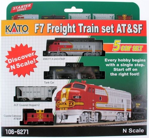 Kato N 1066271 F-7 Freight Train Set, Santa Fe (F-7 A-Unit, Tank Car, Two Hoppers and Caboose)