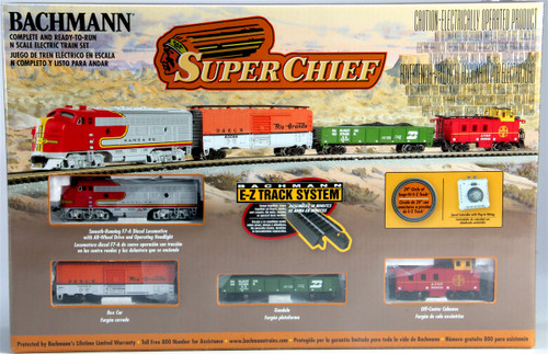 Bachmann N 24021 Super Chief Train Set with E-Z Track and Standard DC Power Pack, Atchison Topeka and Santa Fe
