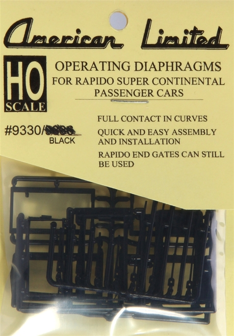American Limited HO 9330 Operating Diaphragm for Rapido Super Continental Passenger Cars, Black (1 Pair)
