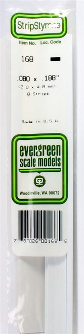 "Evergreen Scale Models 168 Strip .080"" x .188"" (8)"