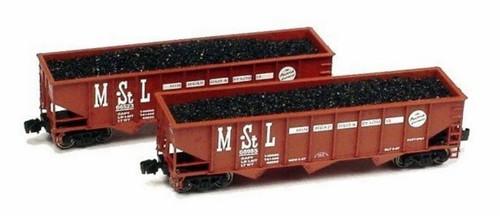 Full Throttle Z FT5004 Open 40' Ribbed 70-Ton Hopper Set #1, Minneapolis and St. Louis Railway (2-Pack)