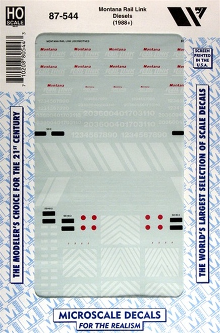 Microscale HO 87-0544 Montana Rail Link Diesels (1988+) (d)