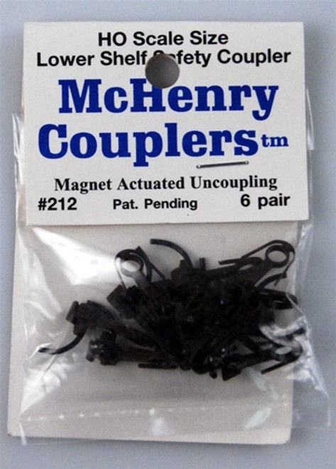 McHenry Couplers HO 212 AAR Lower Shelf Coupler with Metal Knuckle Springs (6 Pairs)