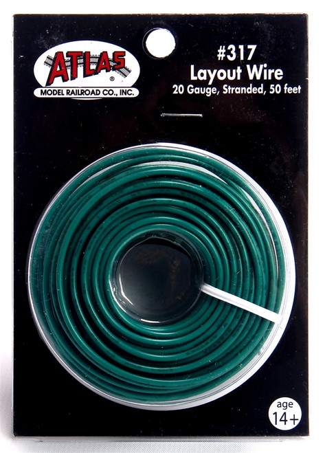 Atlas 317 50' Green 20 Gauge Stranded Layout Wire