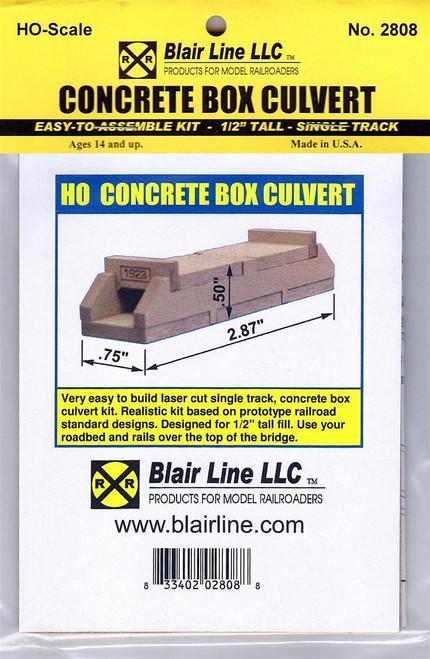 "Blair Line HO 2808 Concrete Box Culvert Kit, Single Track 1/2"" Tall"