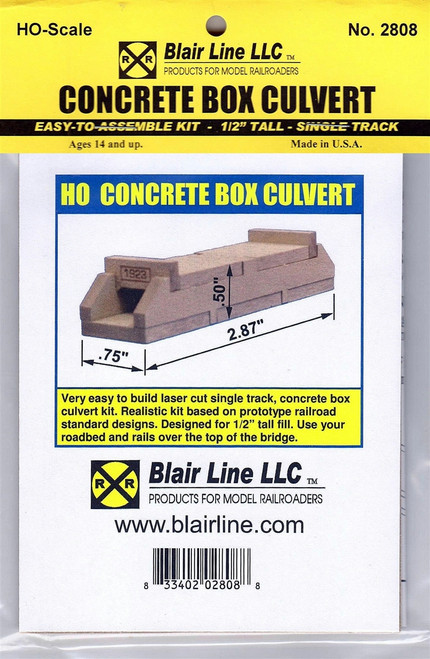 "Blair Line HO 2808 Concrete Box Culvert Kit, Single Track 1/2"" Tall"