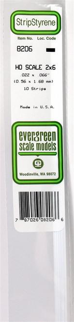 """Evergreen Scale Models HO 8206 Strip .022"""" x .066"""" (10)"""