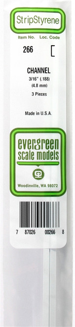 """Evergreen Scale Models 266 Channel .188"""" (3)"""