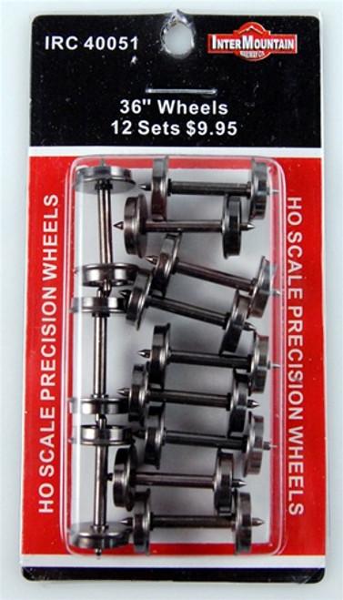 "Intermountain HO 40051 36"" All Brass Insulated Wheels (12)"