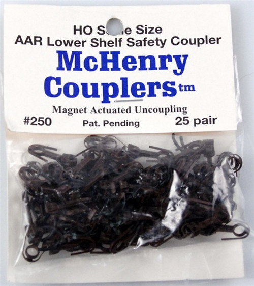 McHenry Couplers HO 250 AAR Lower Shelf Coupler with Metal Knuckle Springs (25 Pairs)