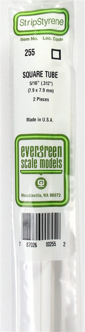 """Evergreen Scale Models 255 Square Tubing .312"""" (2)"""