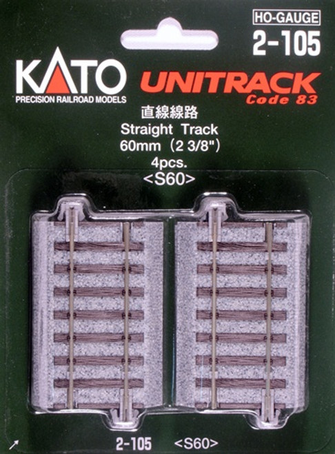 "Kato HO 2105 Unitrack 60mm 2-3/8"" Straight,(4)"