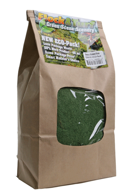 Scenic Express EX805E Flock and Turf Ground Cover, Medium Grass Green Fine 48 oz. ECO Pack