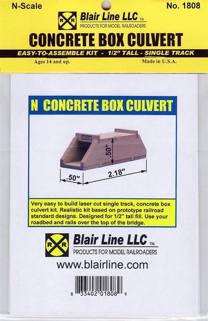 "Blair Line N 1808 Concrete Box Culvert Kit, Single Track 1/2"" Tall"