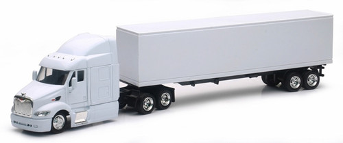New Ray Toys O SS-15553D Peterbilt 387 Long Hauler with Dry Van Trailer in White