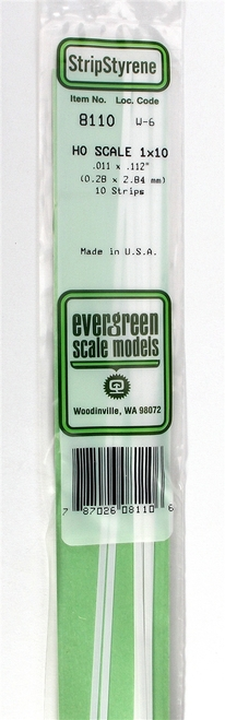 """Evergreen Scale Models HO 8110 Strip .011"""" x .112"""" (12)"""