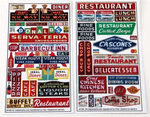 Blair Line HO 136 Restaurant and Cafe Signs