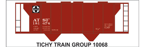 Tichy Train Group N 10068 Atchison Topeka and Santa Fe Decal Set for Class GA-67 Covered Hopper (d)