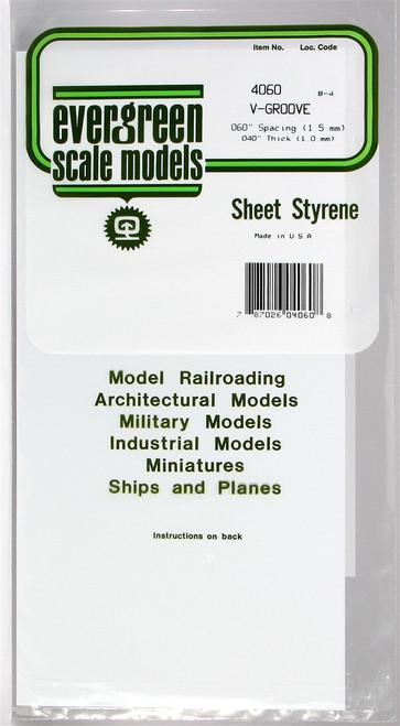 """Evergreen Scale Models 4060 6"""" x 12"""" V-Groove Sheet .040"""" x .060"""""""