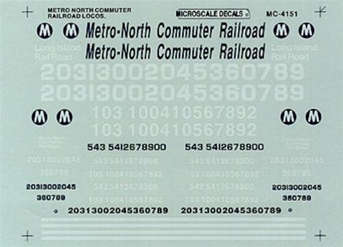 Microscale HO MC-4151 Metro North Commuter Railroad Locomotives (1985+)