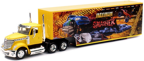 New Ray Toys O 16663-MON International Lonestar with Dropdeck Trailer and Monster Truck Graphics (d)