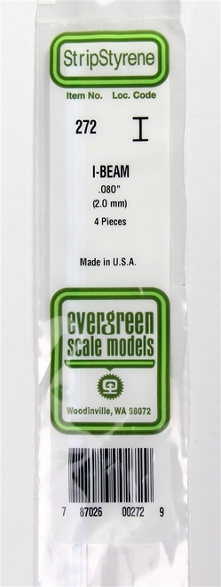 """Evergreen Scale Models 272 I-Beam .080"""" (4)"""