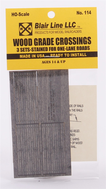 Blair Line HO 114 Wood Grade Crossing Kits, One Lane (3 Sets)