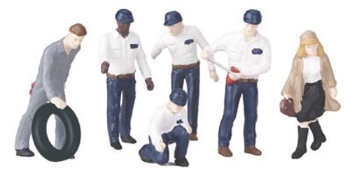 MTH RailKing O 30-11045 Figure Set #1, Gas Station Attendants and Patrons (6)