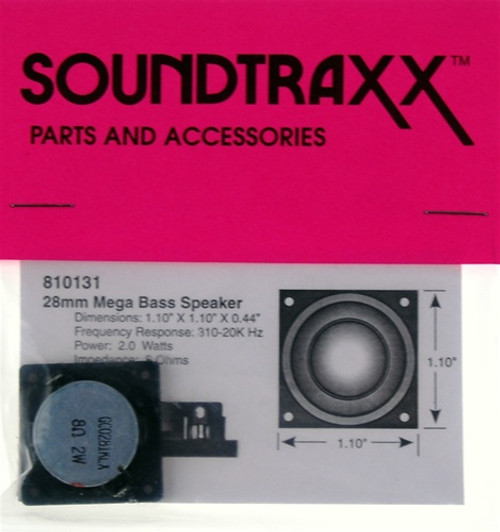 "SoundTraxx 810131 28mm x 28mm x 11.2mm(D) (1.10236"" x 1.10236"") Square Mega Bass Speaker"