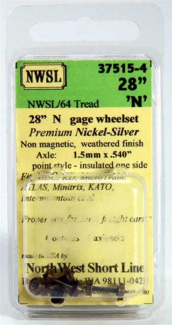 """NWSL N 37515-4 28"""" Nickel Silver Wheelset (4-Pack)"""