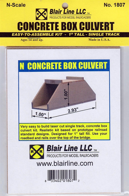 "Blair Line N 1807 Concrete Box Culvert Kit, Single Track 1"" Tall"