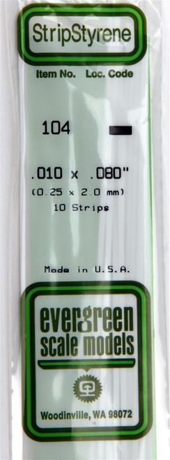 "Evergreen Scale Models 104 Strip .010"" x .080"" (10)"