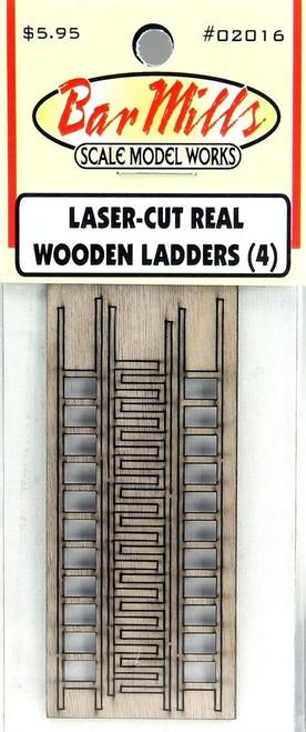 Bar Mills Scale Model Works HO 02016 Laser-Cut Real Wooden Ladders (4)