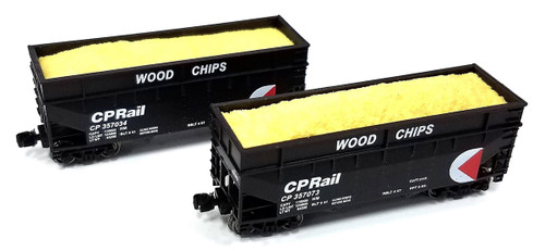 Full Throttle Z FT3405-2 Offset 2-Bay Woodchip Hopper Set #2, Canadian Pacific (2-Pack)