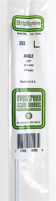"""Evergreen Scale Models 293 Angle .100"""" (4)"""