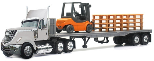New Ray Toys O 16643 International Lonestar with Flat Bed Hauling a Forklift and Pallets (1:43)