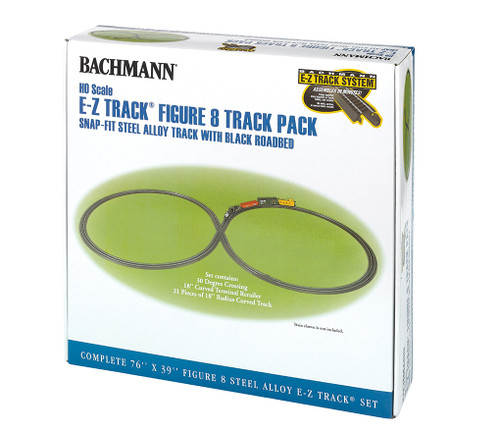 Bachmann HO 44487 EZ Track Figure 8 Track Pack with Steel Rail and Black Roadbed
