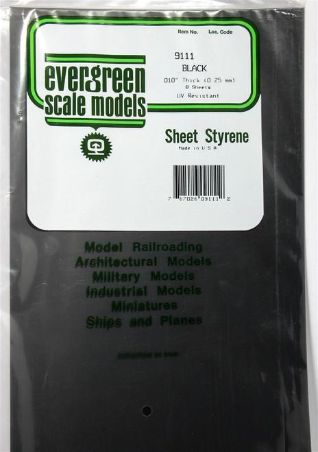 "Evergreen Scale Models 9111 Black Styrene Sheets .010"" (8)"